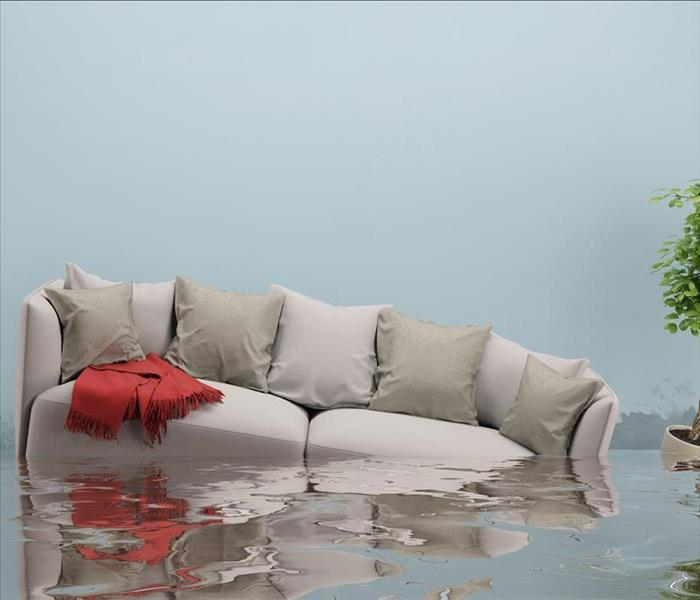Living room with sofa and other furniture after flooding